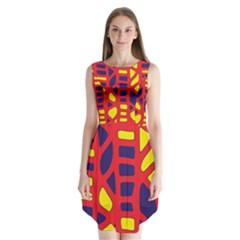 Red, Yellow And Blue Decor Sleeveless Chiffon Dress