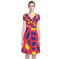 Red, Yellow And Blue Decor Short Sleeve Front Wrap Dress