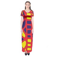 Red, Yellow And Blue Decor Short Sleeve Maxi Dress