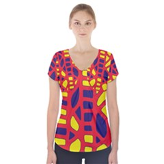 Red, Yellow And Blue Decor Short Sleeve Front Detail Top