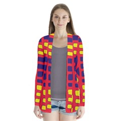 Red, Yellow And Blue Decor Drape Collar Cardigan