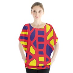 Red, Yellow And Blue Decor Blouse