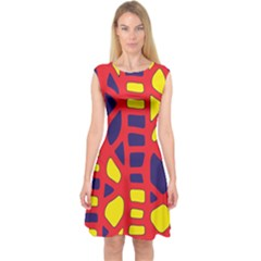 Red, yellow and blue decor Capsleeve Midi Dress
