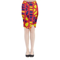 Red, Yellow And Blue Decor Midi Wrap Pencil Skirt