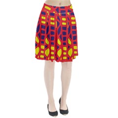 Red, Yellow And Blue Decor Pleated Skirt