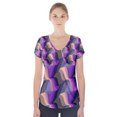 Wavy Pattern                            Short Sleeve Front Detail Top