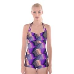 Wavy pattern      Boyleg Halter Swimsuit