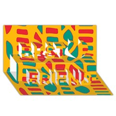 Abstract decor Best Friends 3D Greeting Card (8x4)