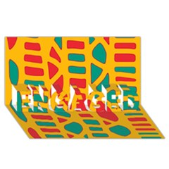 Abstract decor ENGAGED 3D Greeting Card (8x4)