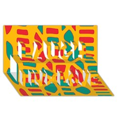 Abstract decor Laugh Live Love 3D Greeting Card (8x4)