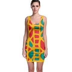 Abstract decor Sleeveless Bodycon Dress
