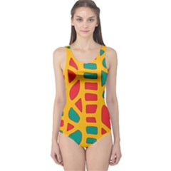 Abstract decor One Piece Swimsuit