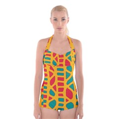 Abstract Decor Boyleg Halter Swimsuit