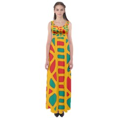 Abstract decor Empire Waist Maxi Dress