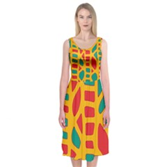 Abstract decor Midi Sleeveless Dress