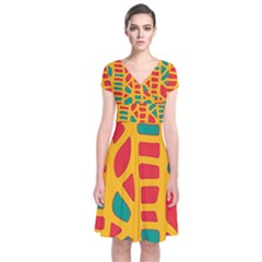 Abstract decor Short Sleeve Front Wrap Dress