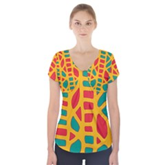 Abstract Decor Short Sleeve Front Detail Top
