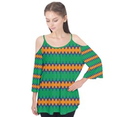 Orange green chains        Flutter Sleeve Tee