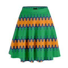 Orange Green Chains                                                                                              High Waist Skirt