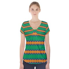 Orange green chains                             Short Sleeve Front Detail Top