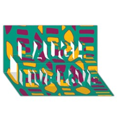 Green, purple and yellow decor Laugh Live Love 3D Greeting Card (8x4)