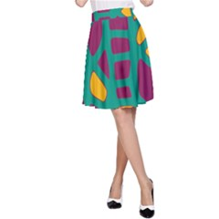 Green, purple and yellow decor A-Line Skirt