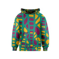 Green, purple and yellow decor Kids  Pullover Hoodie