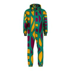 Green, purple and yellow decor Hooded Jumpsuit (Kids)