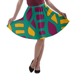 Green, purple and yellow decor A-line Skater Skirt