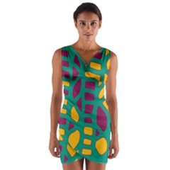 Green, purple and yellow decor Wrap Front Bodycon Dress