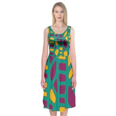 Green, Purple And Yellow Decor Midi Sleeveless Dress