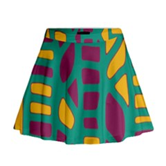 Green, Purple And Yellow Decor Mini Flare Skirt