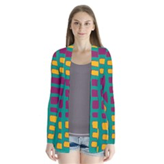 Green, Purple And Yellow Decor Drape Collar Cardigan
