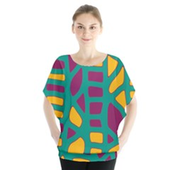 Green, Purple And Yellow Decor Blouse