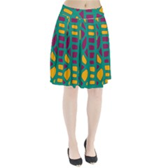 Green, purple and yellow decor Pleated Skirt