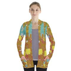 Paint Strokes            Women s Open Front Pockets Cardigan