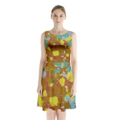 Paint strokes       Sleeveless Waist Tie Dress