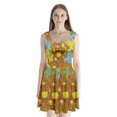 Paint strokes            Split Back Mini Dress