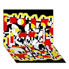 Red and yellow chaos I Love You 3D Greeting Card (7x5)