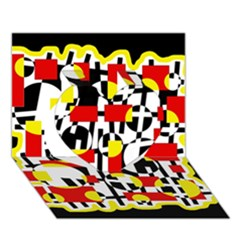 Red and yellow chaos Heart 3D Greeting Card (7x5)