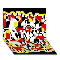 Red and yellow chaos LOVE 3D Greeting Card (7x5)