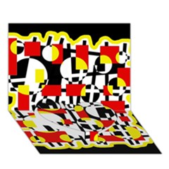 Red and yellow chaos Heart Bottom 3D Greeting Card (7x5)