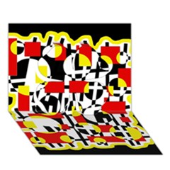 Red and yellow chaos Clover 3D Greeting Card (7x5)