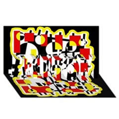 Red and yellow chaos #1 MOM 3D Greeting Cards (8x4)