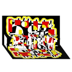 Red and yellow chaos BELIEVE 3D Greeting Card (8x4)