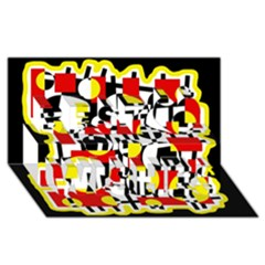 Red and yellow chaos Best Wish 3D Greeting Card (8x4)