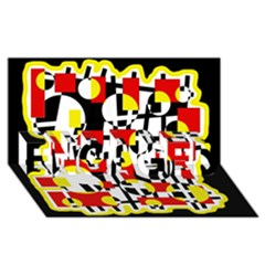 Red and yellow chaos ENGAGED 3D Greeting Card (8x4)