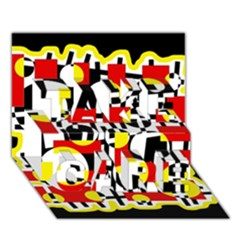 Red and yellow chaos TAKE CARE 3D Greeting Card (7x5)