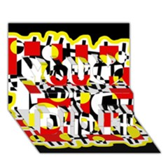 Red and yellow chaos You Did It 3D Greeting Card (7x5)