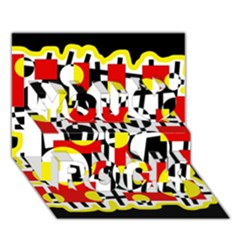 Red and yellow chaos You Rock 3D Greeting Card (7x5)